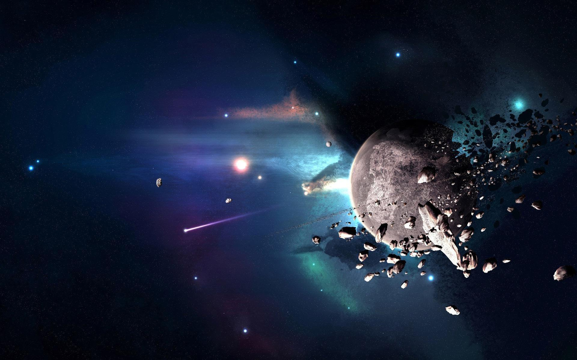 Meteorites circling the planet wallpapers