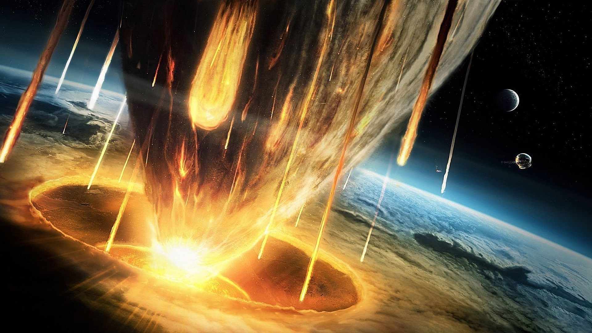 The fall of the meteorite. Android wallpapers for free