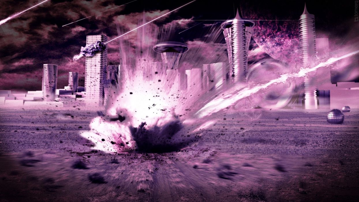 Outer space futuristic explosions purple impact meteorite cities