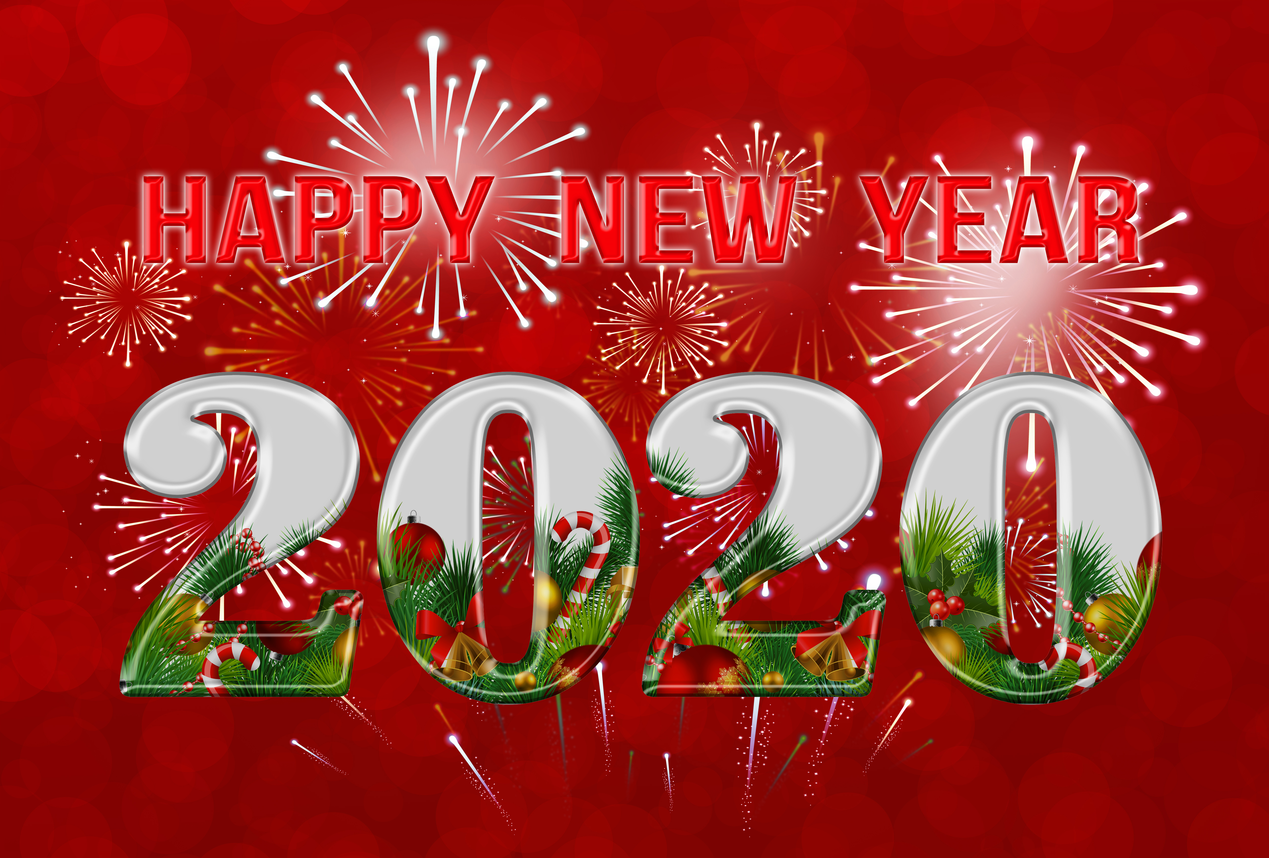 Happy New Year 2020 Red Backgrounds