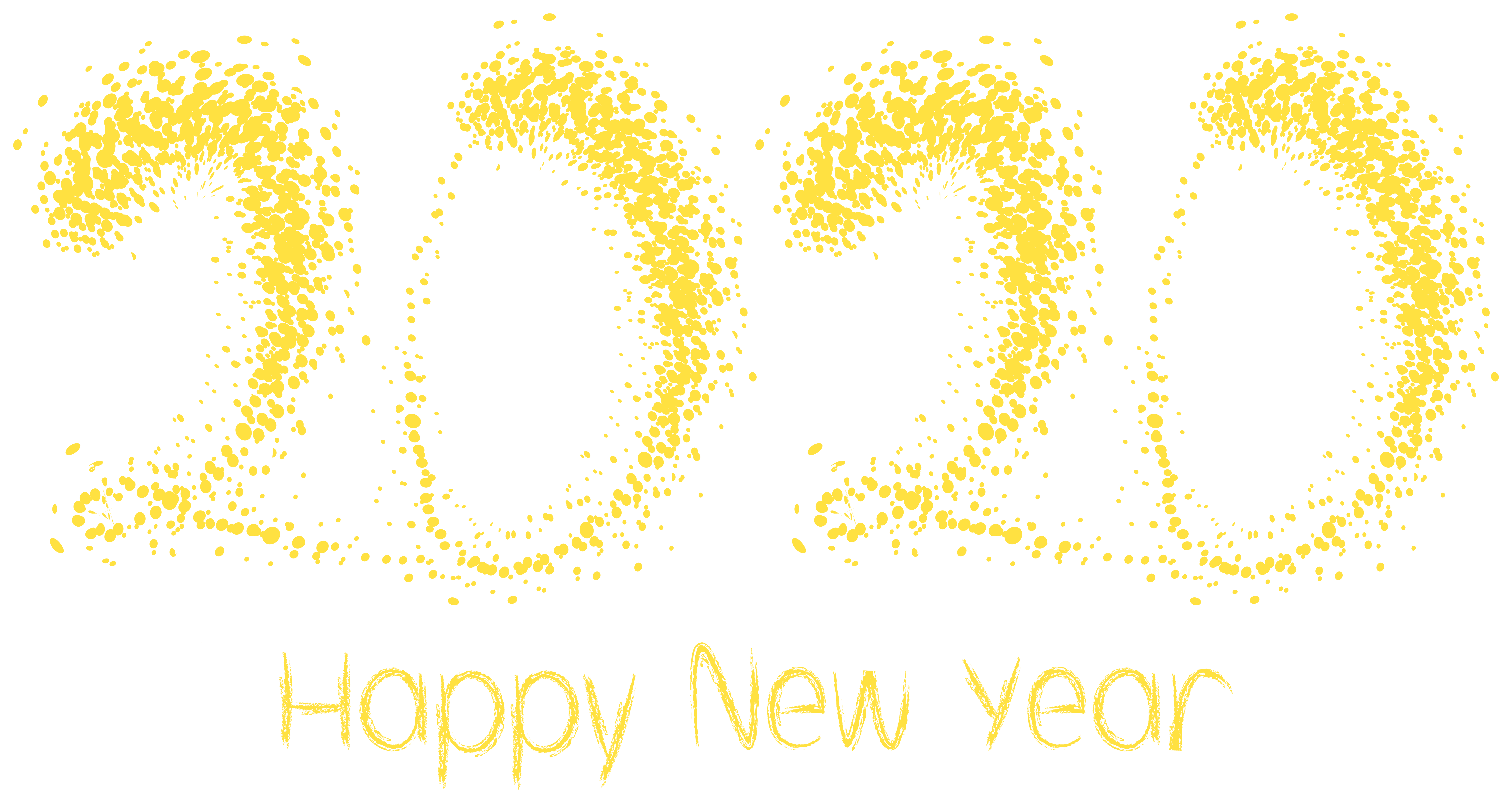 2020 Yelow Happy New Year PNG Clipart Image