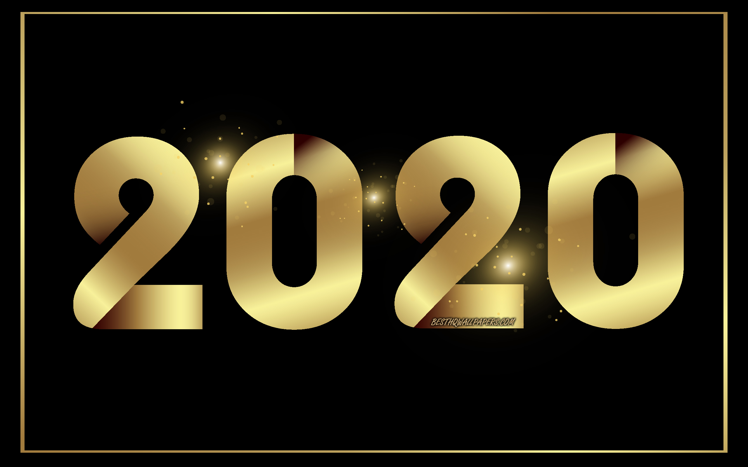 Download wallpapers Happy New Year 2020, 2020 Gold