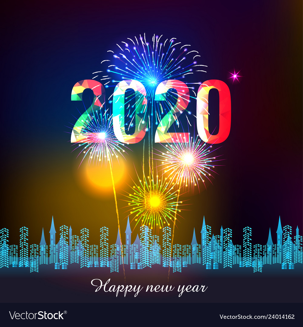 Happy new year 2020 backgrounds with fireworks
