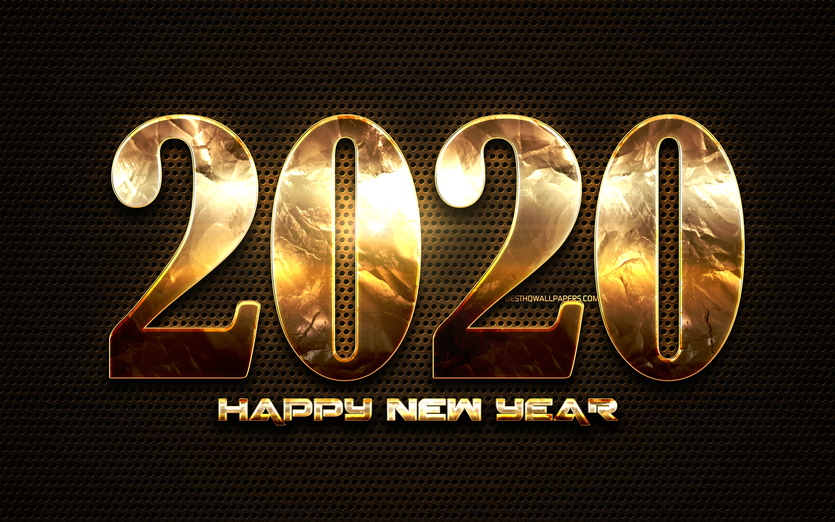 Download wallpapers 2020 golden digits, metal dotted