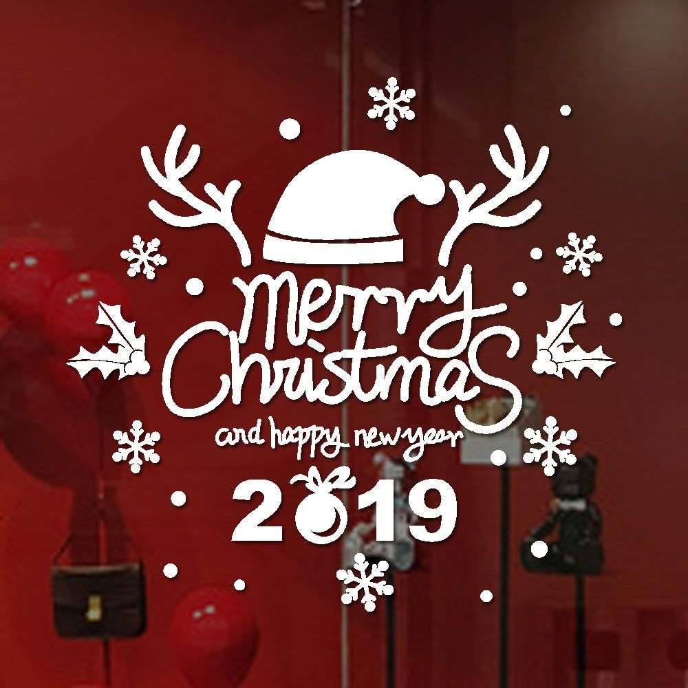 2019 New Year Wall Stickers Merry Christmas Wallpapers Home Shop