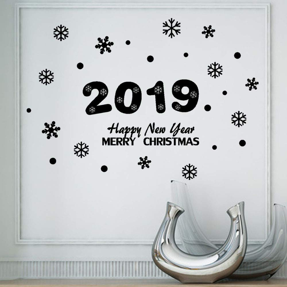 Unpara Happy New Year 2019 Letter Wall Stickers Decoration Mural For