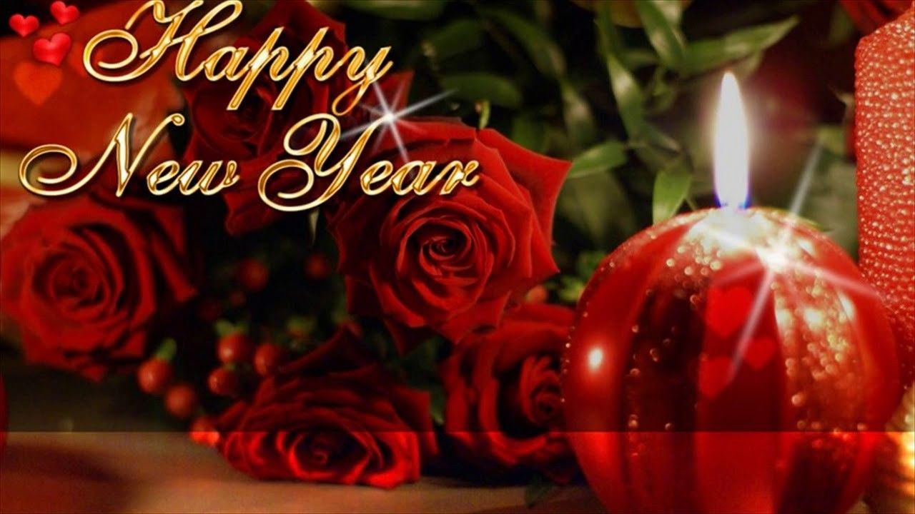 HD Wishes New Year 2016 Red Rose Flower Wallpapers Happy
