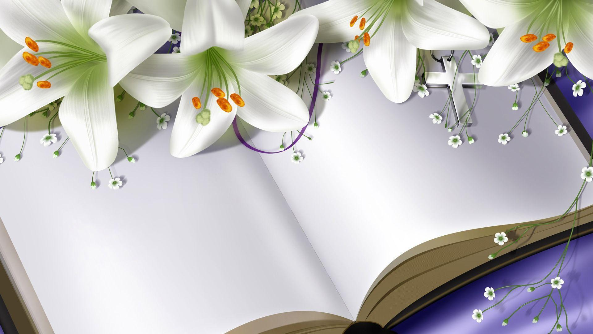 Easter Lilies on Bible widescreen wallpapers