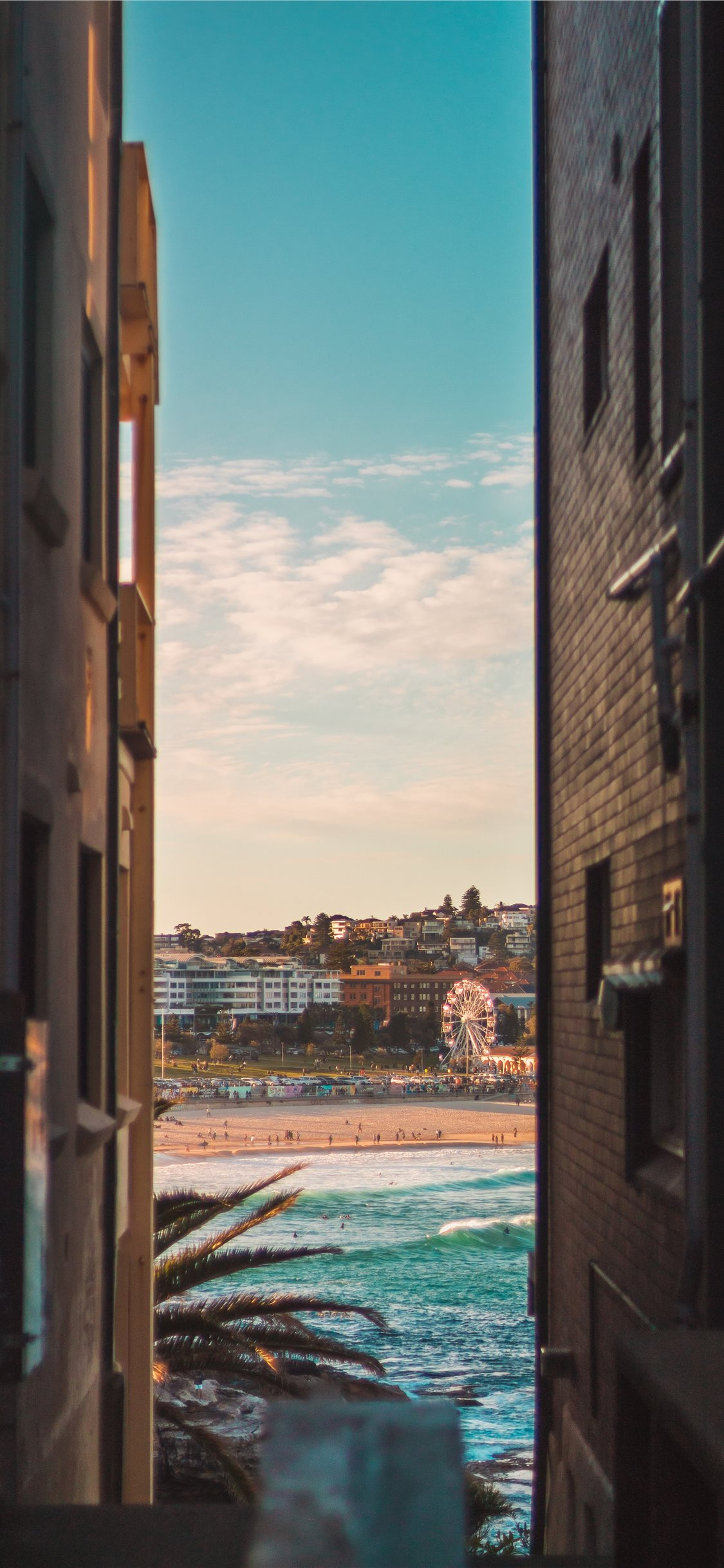 Bondi beach between two houses iPhone 8 Wallpapers Download