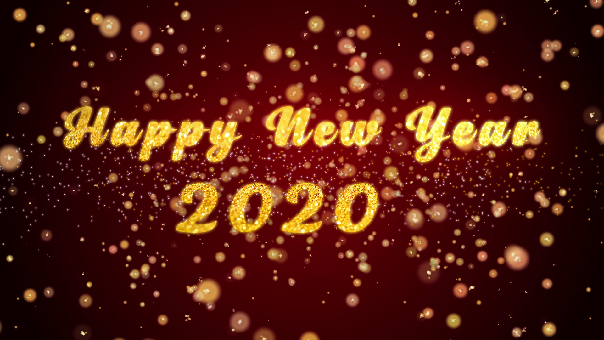 happy new year 2020 greeting card text with sparkling