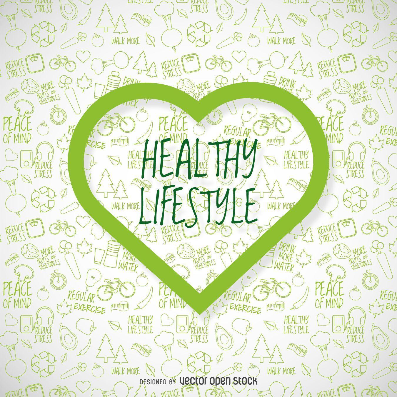 Healthy lifestyle wallpapers with green heart