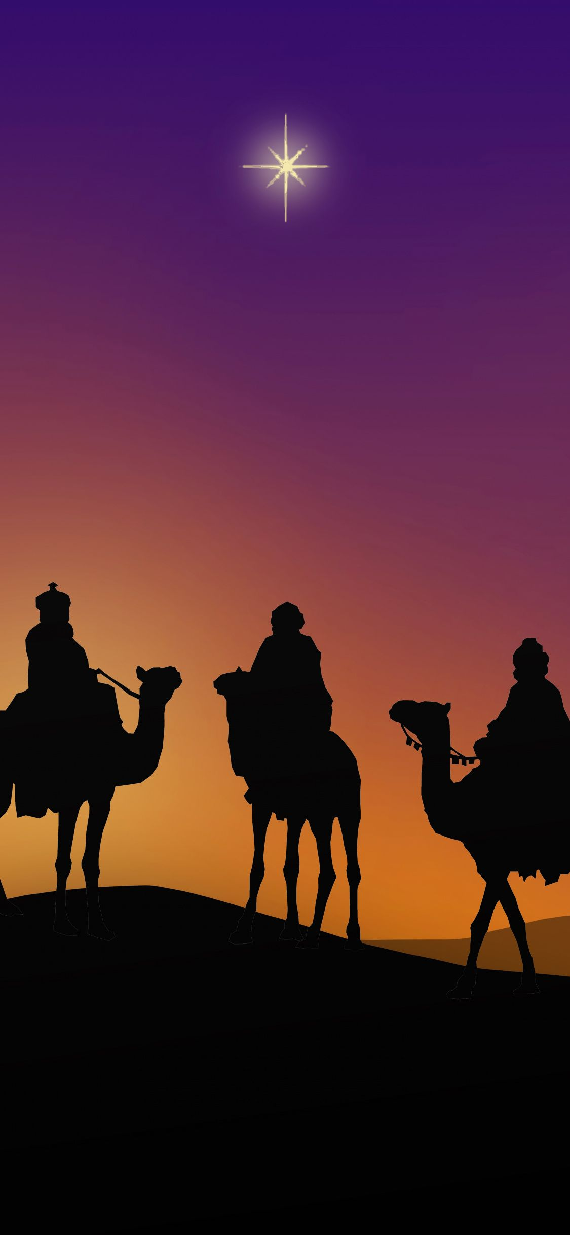 Download 1125x2436 wallpapers epiphany, camel, silhouette, minimal
