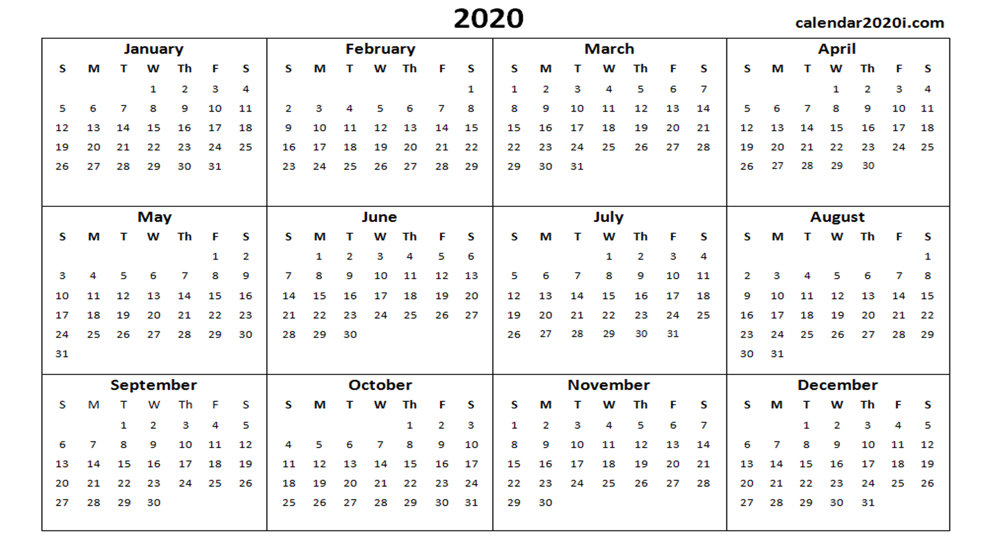 2020 Calendar Printable Template Holidays, Word, Excel, PDF, Wallpapers