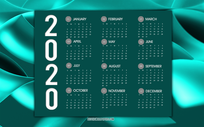 Download wallpapers Turquoise 2020 calendar, turquoise ...