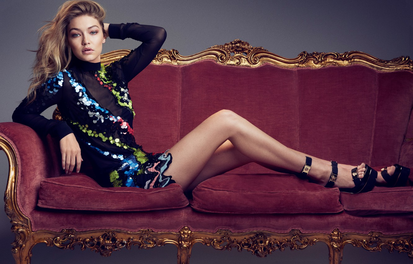 Wallpapers pose, sofa, model, figure, dress, hairstyle, shoes