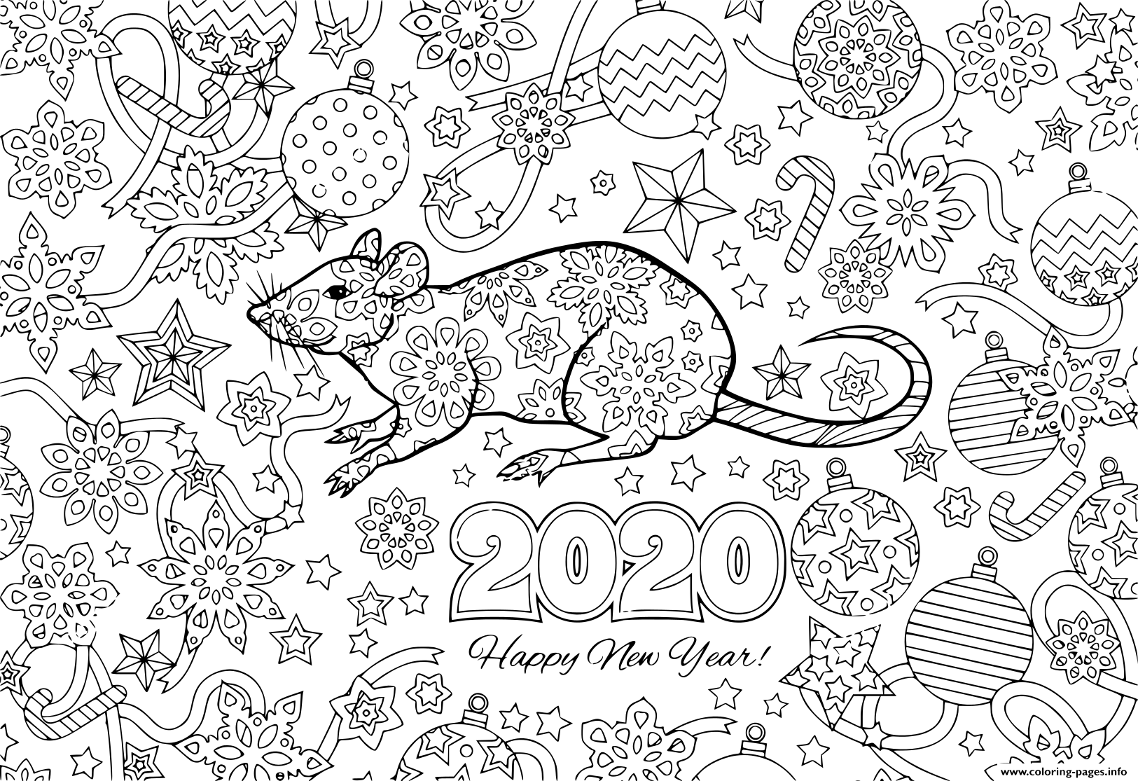 New Year 2020 Rat And Festive Objects Image For Calendar