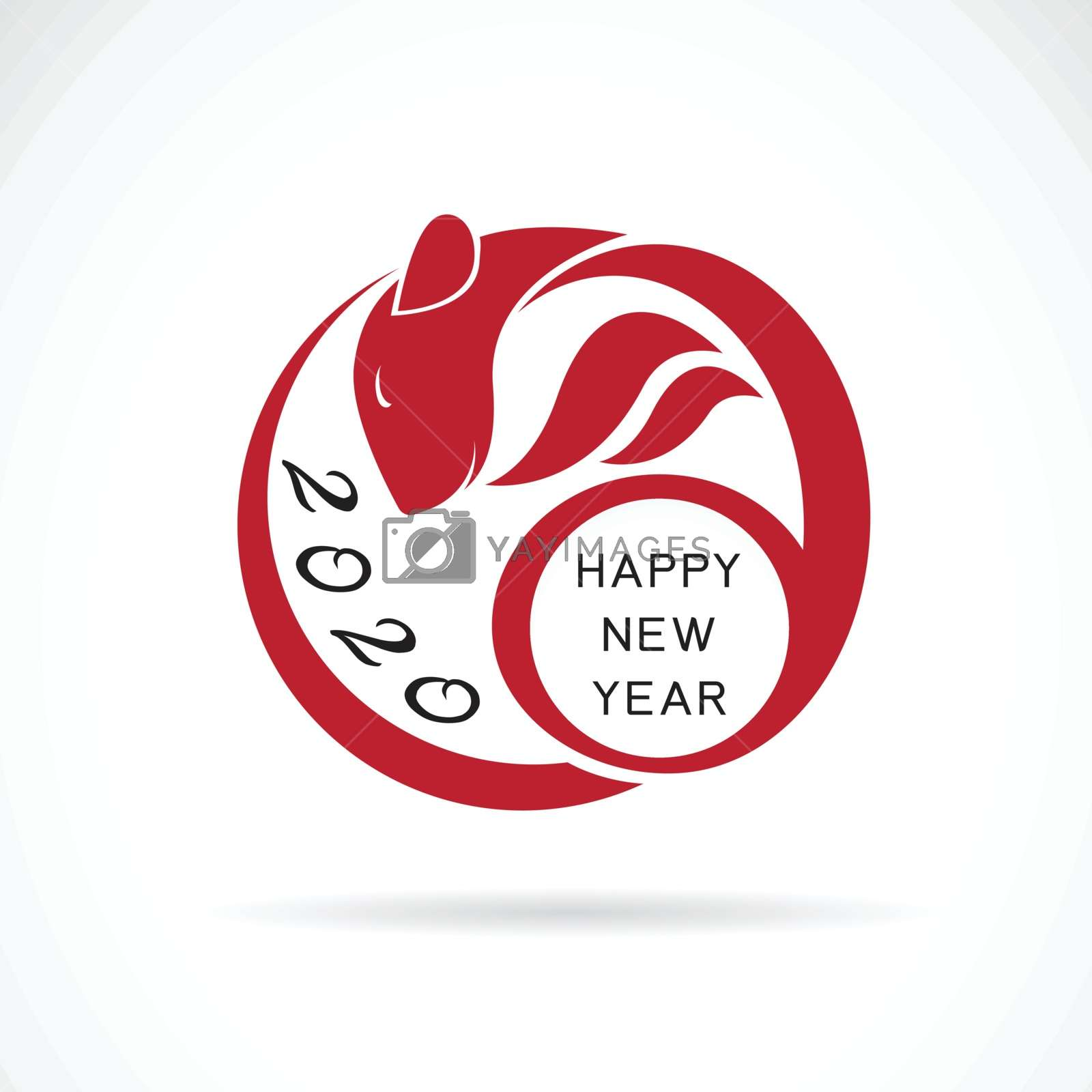 2020 Happy New Year greeting card that is a rat shape