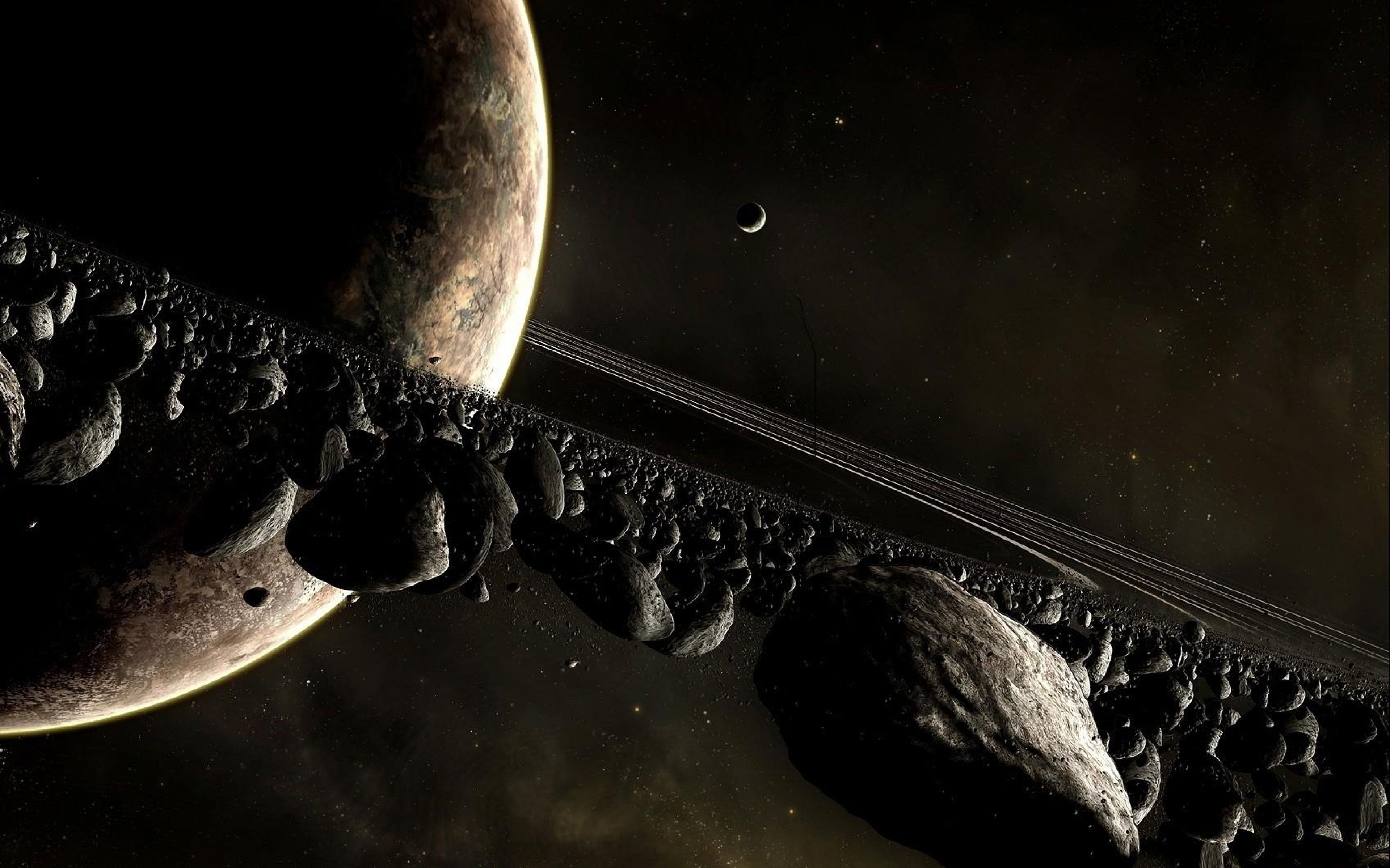 3840x2400 Wallpapers planet, space, ring, asteroids