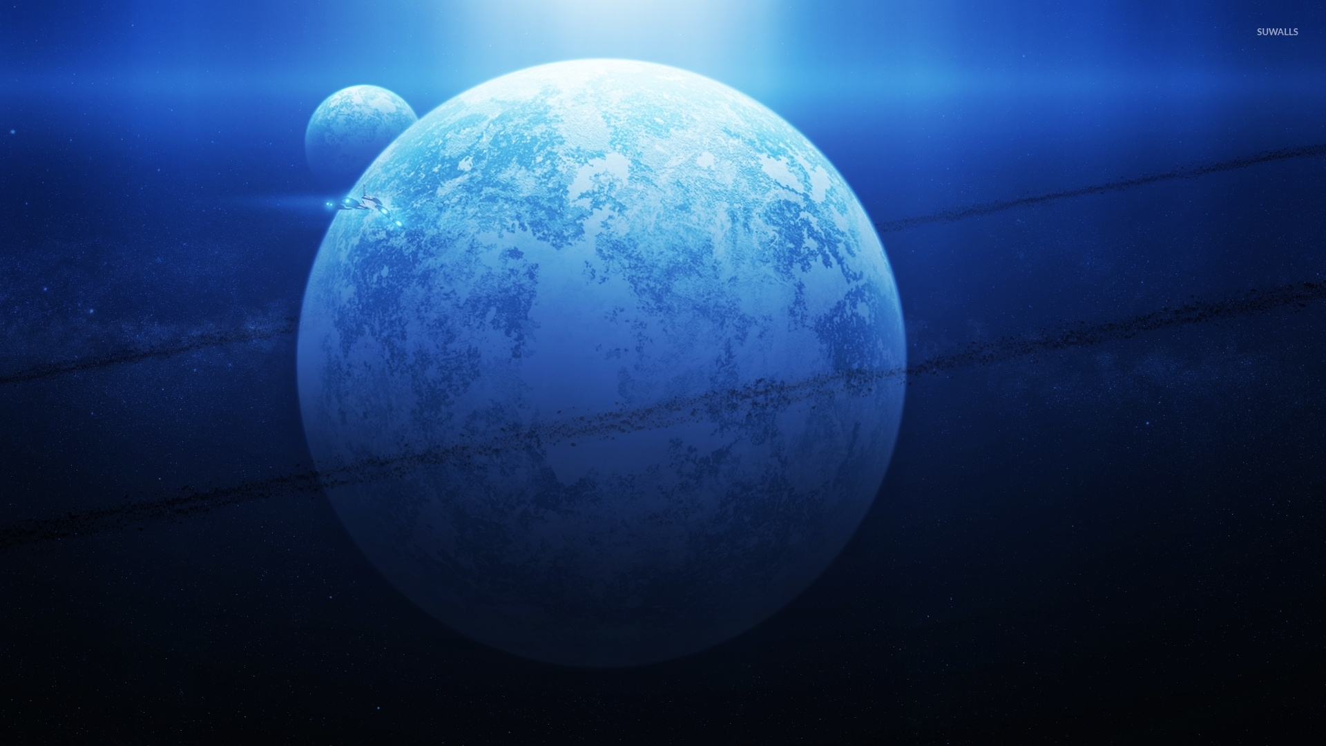 Asteroid belt surrounding the blue planet wallpapers