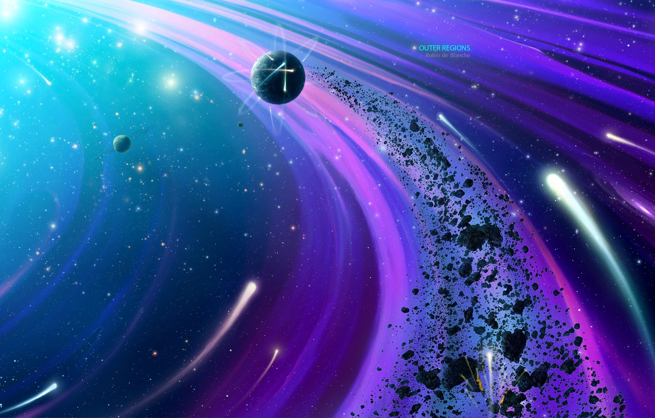 Wallpapers space, fragments, planet, stars, the asteroid belt, by