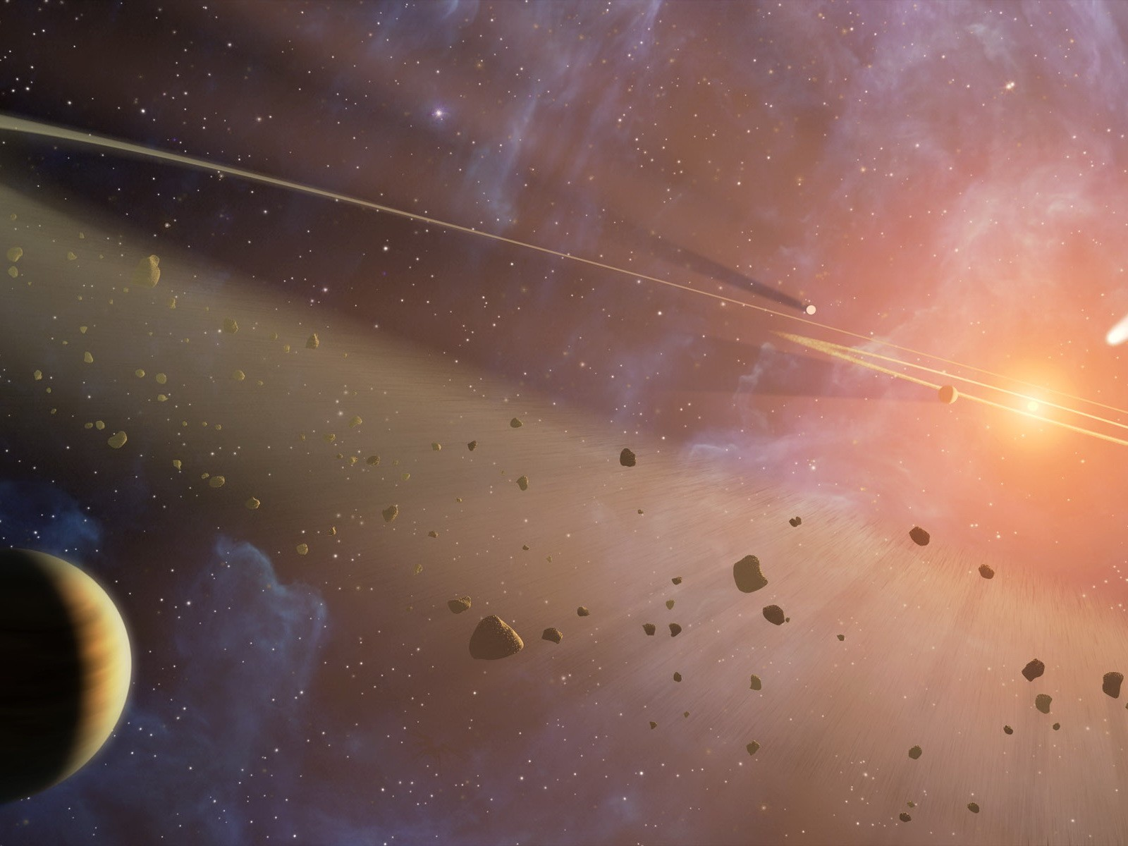 Wallpapers the asteroid belt in star rays free desktop backgrounds