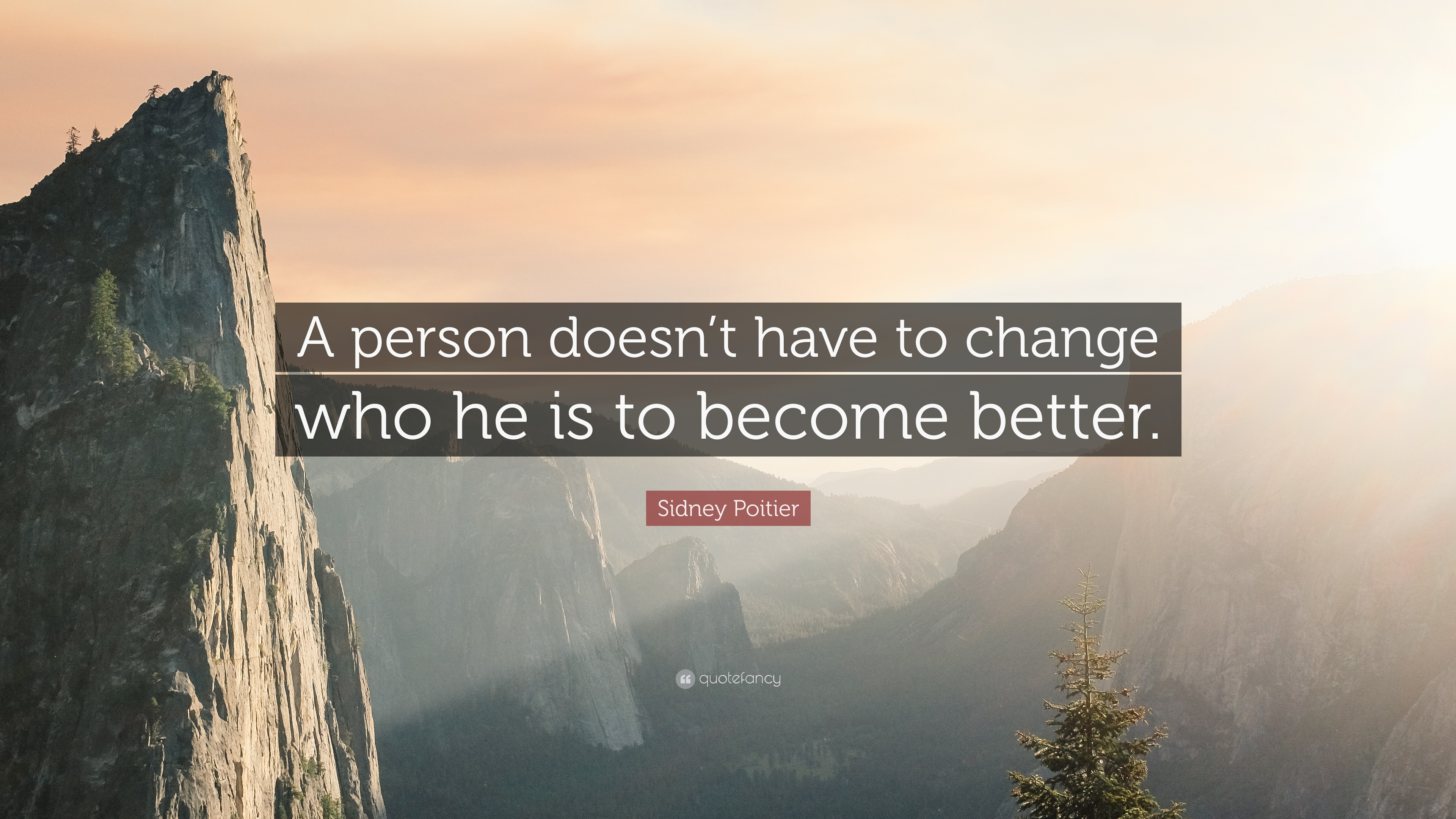 """Sidney Poitier Quote: """"A person doesn't have to change who he is to"""