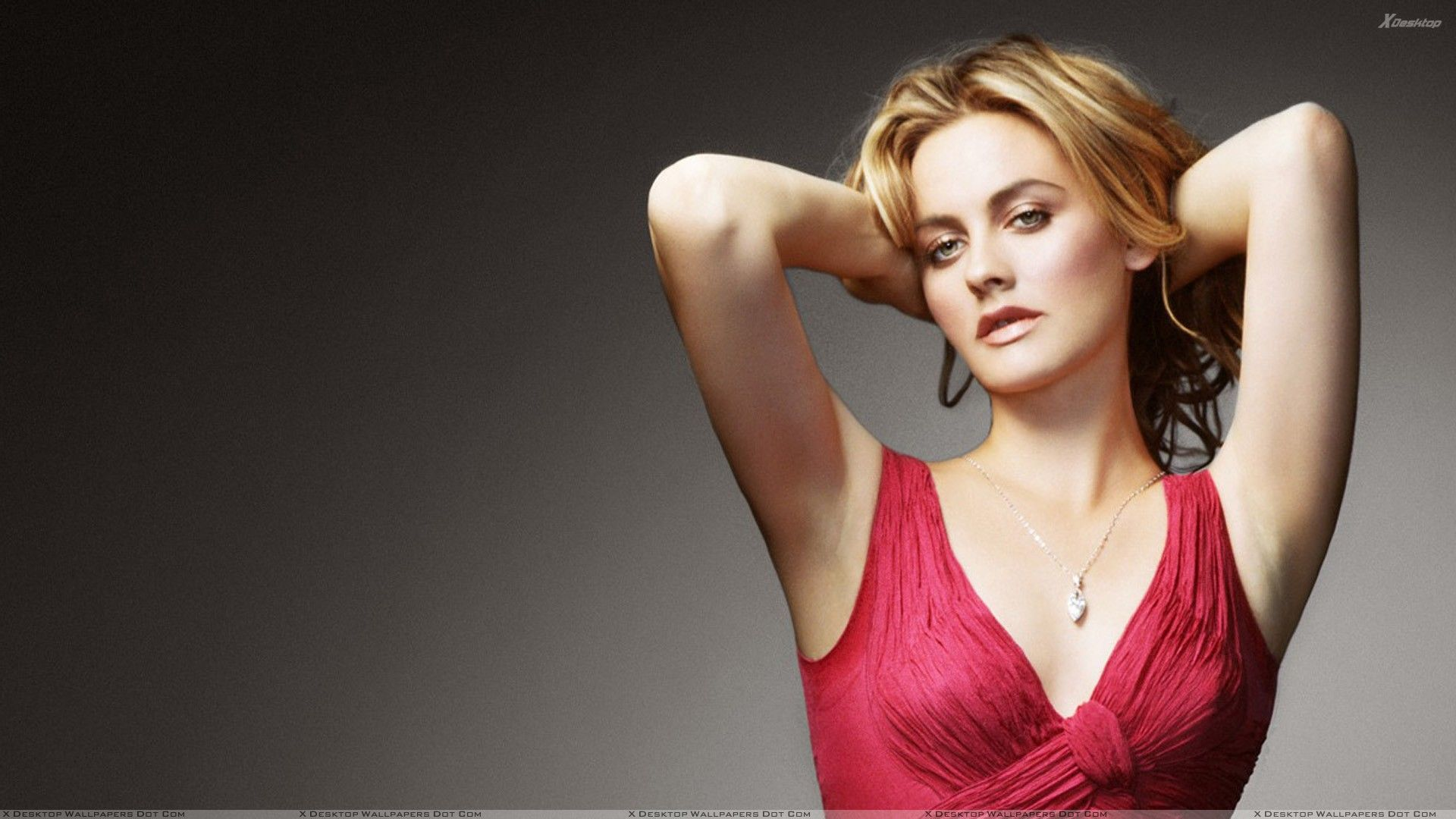 Alicia Silverstone Golden Hair and Red Dress HD Wallpapers