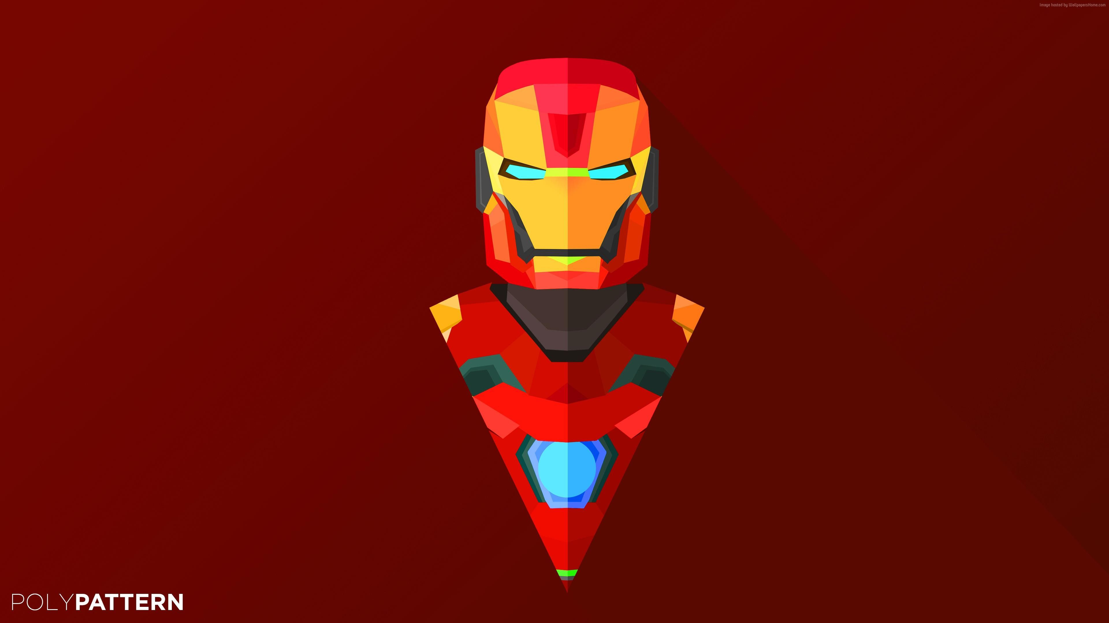 Wallpapers Iron Man, abstract, low poly, minimalism, 4k, 5k, iphone