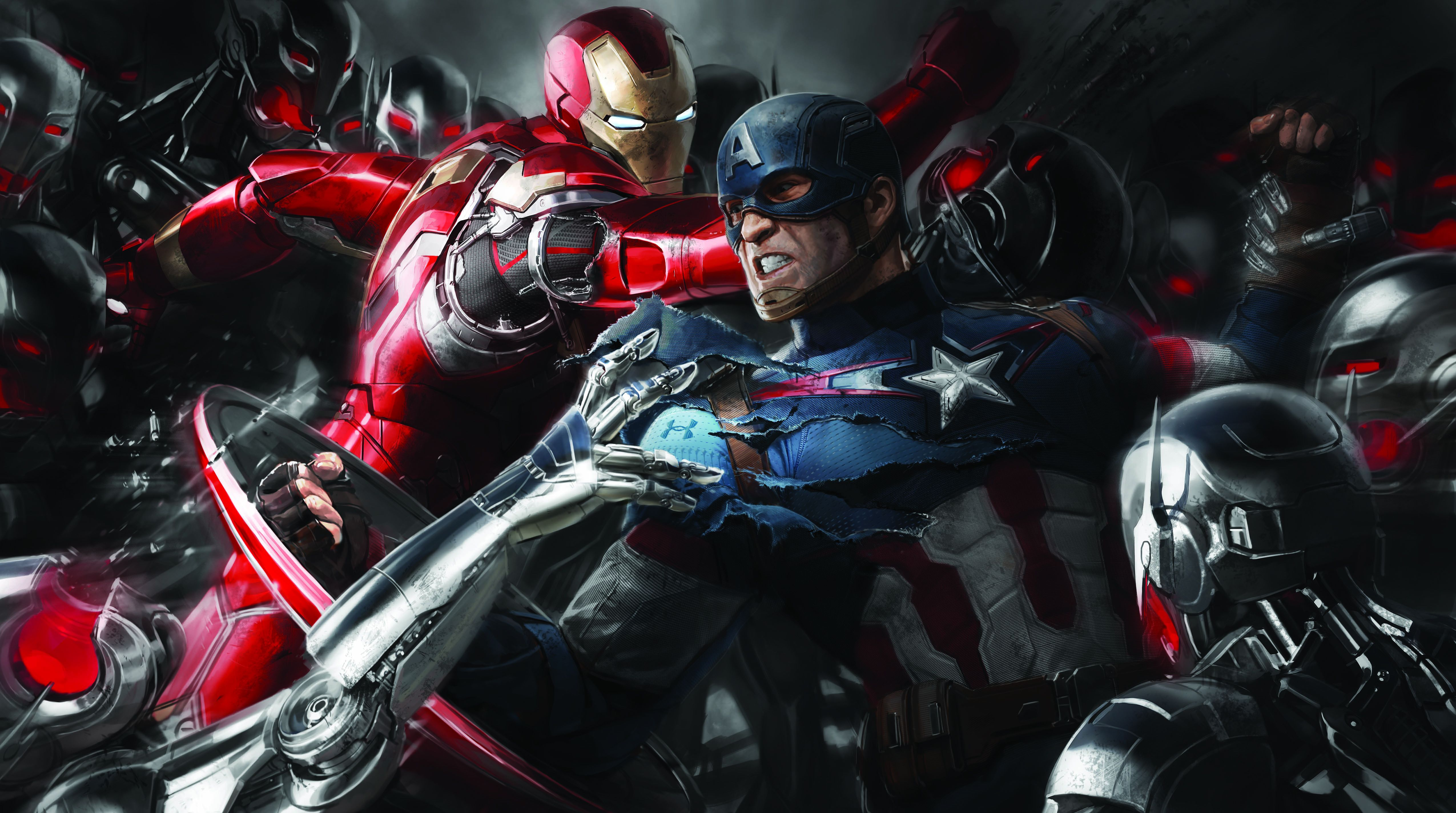 Wallpapers Iron Man, Captain America, Civil War, Concept Art, Movies,