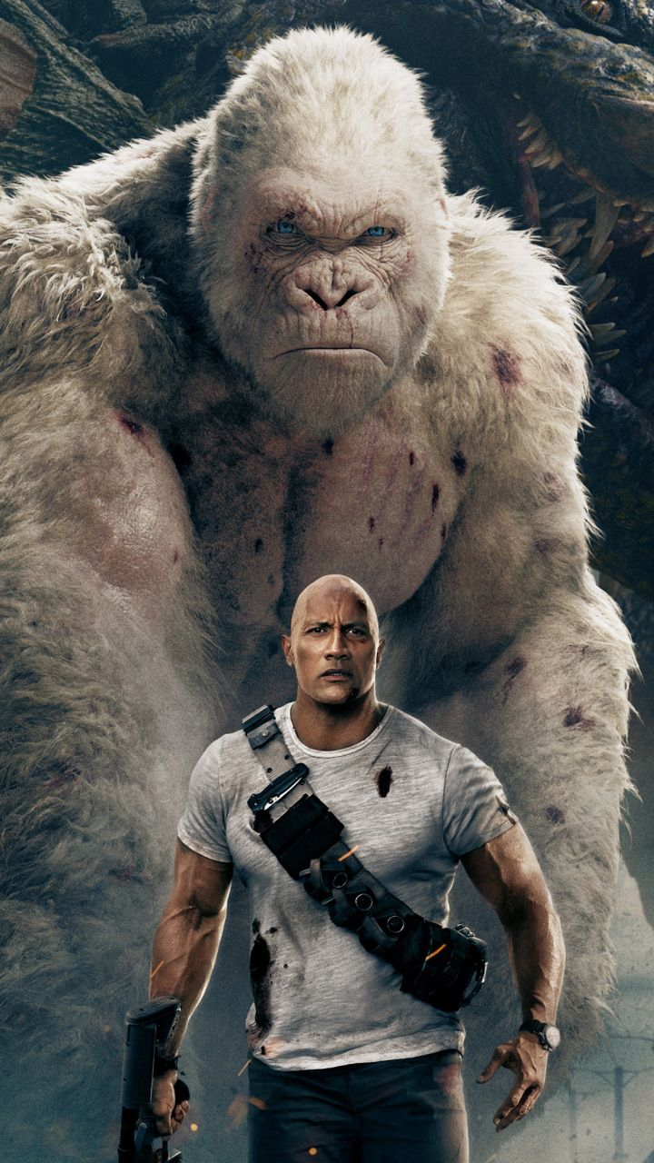 Rampage, movie, wolf, gorilla, 4k, 720x1280 wallpapers