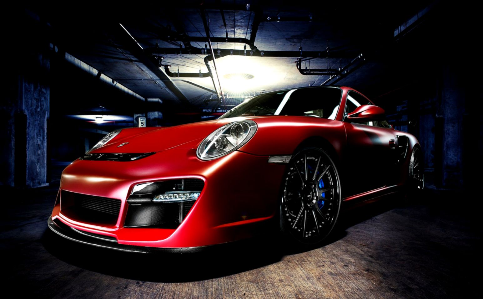 Porsche 911 Turbo Red Car Garage Photo Hd Wallpapers