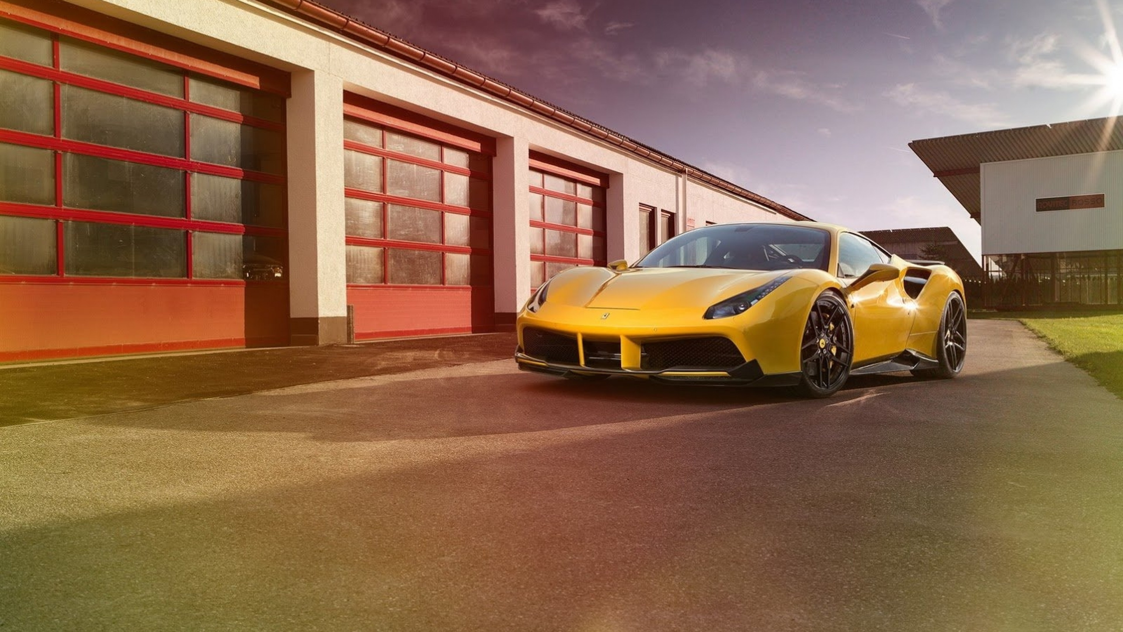 Download 3840x2160 Cars, Ferrari 488 Gtb, Yellow, Garage Wallpapers