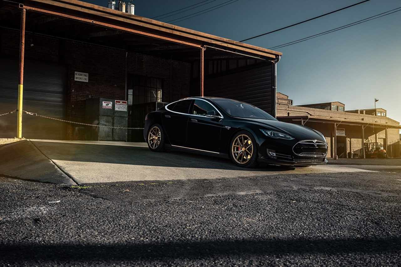 Wallpapers Tesla Motors Model S P85 Garage Black Cars