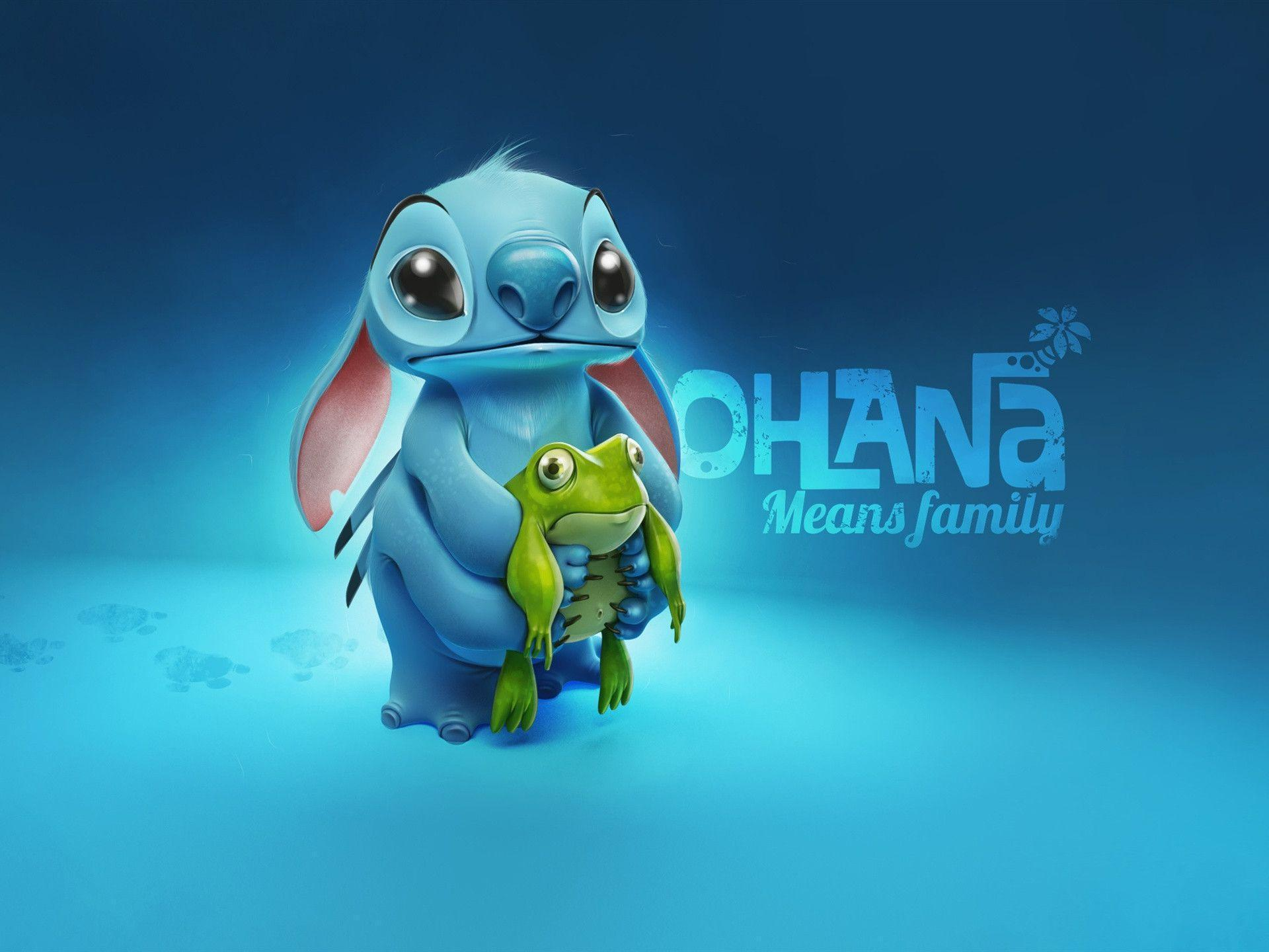 Stitch with frog Wallpapers