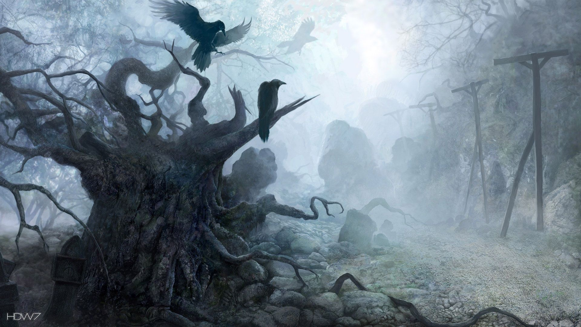 cg tree and crows wallpapers
