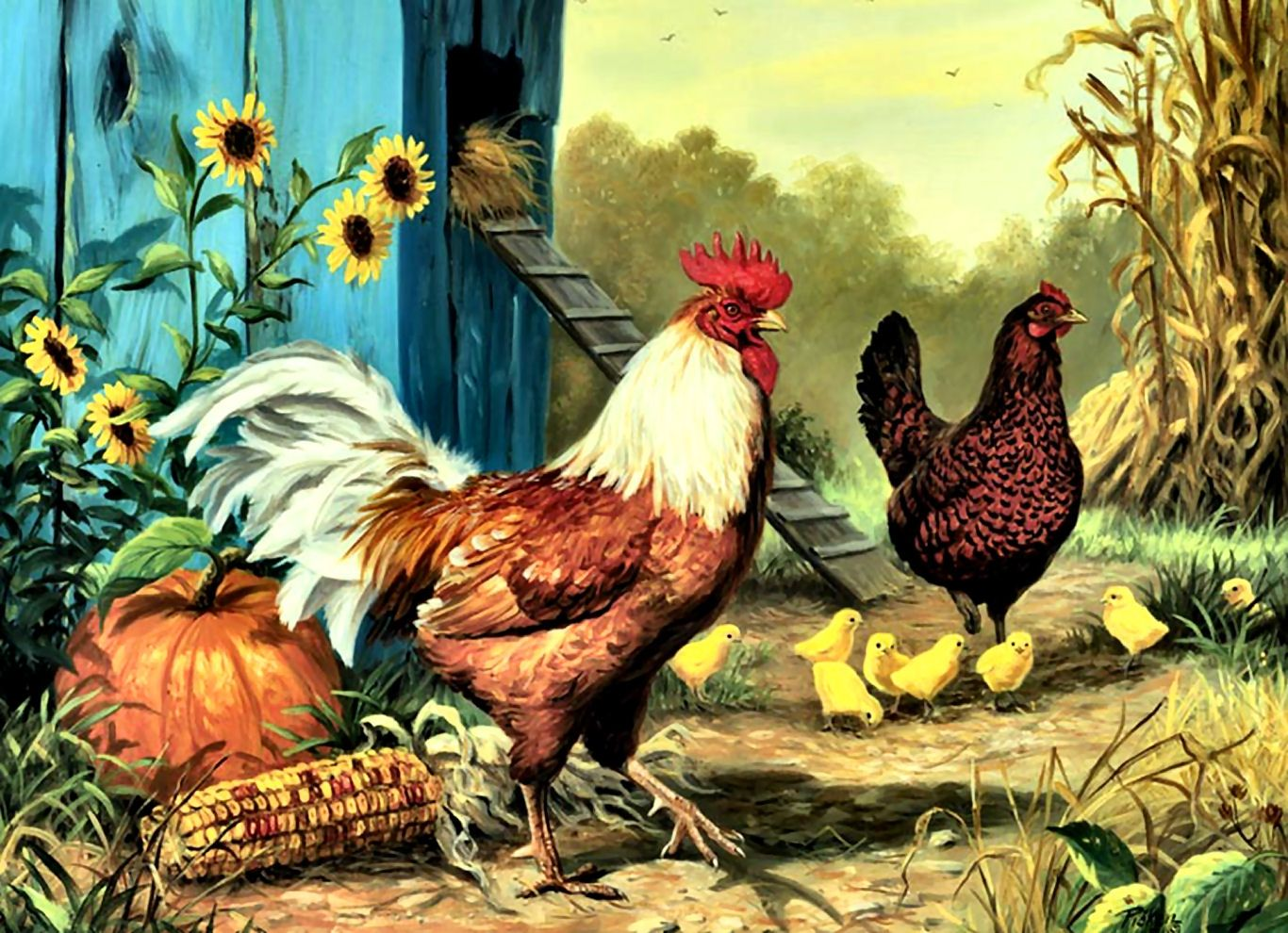 55+ Chickens Painting Wallpapers
