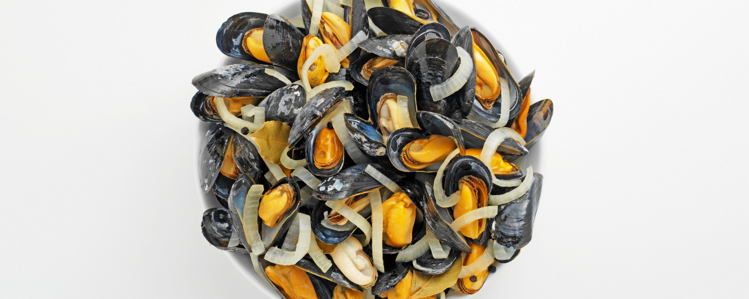 Download wallpapers 2560x1024 dish, seafood, mussels