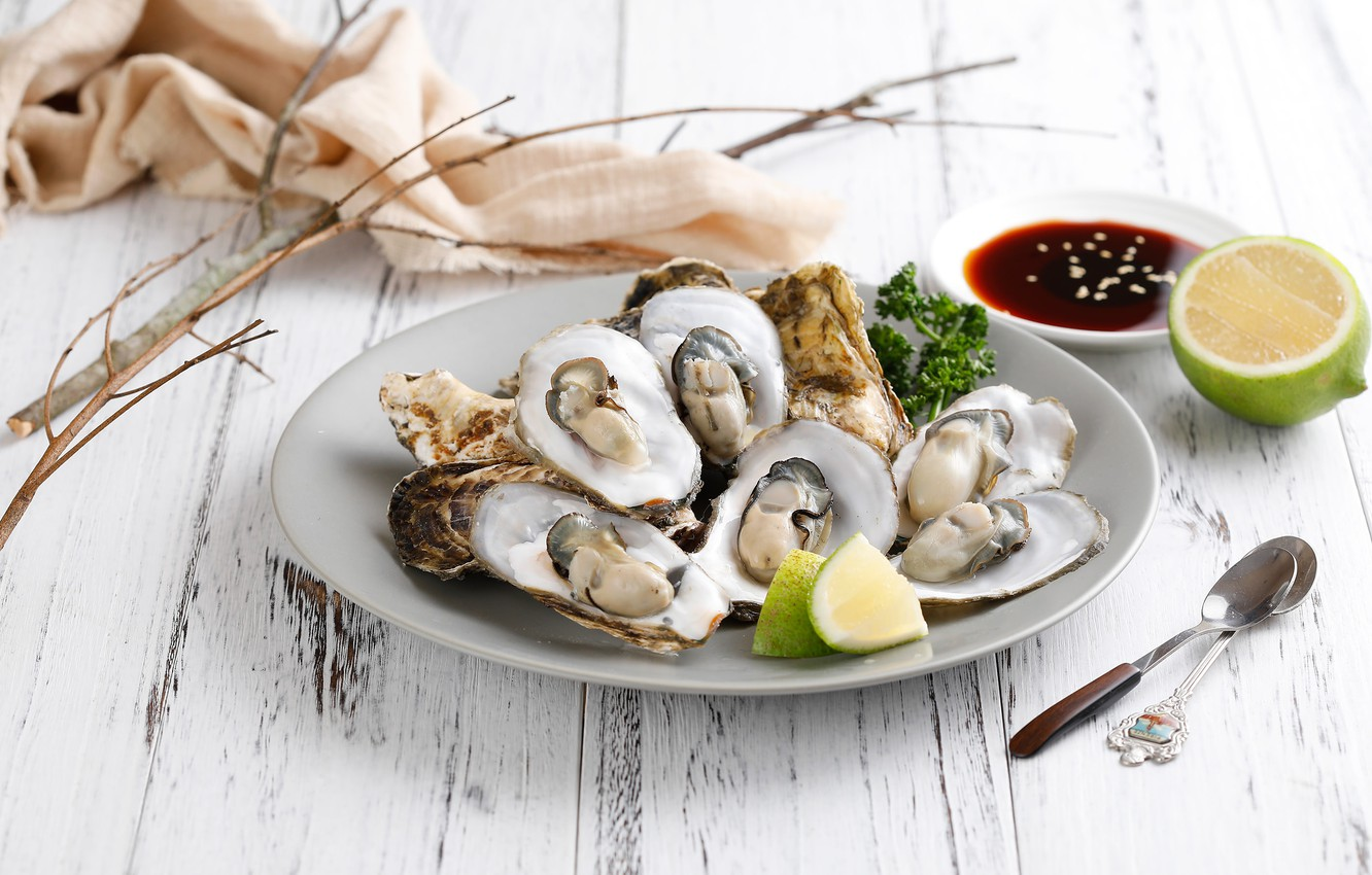 Wallpapers lime, seafood, soy sauce, mussels image for
