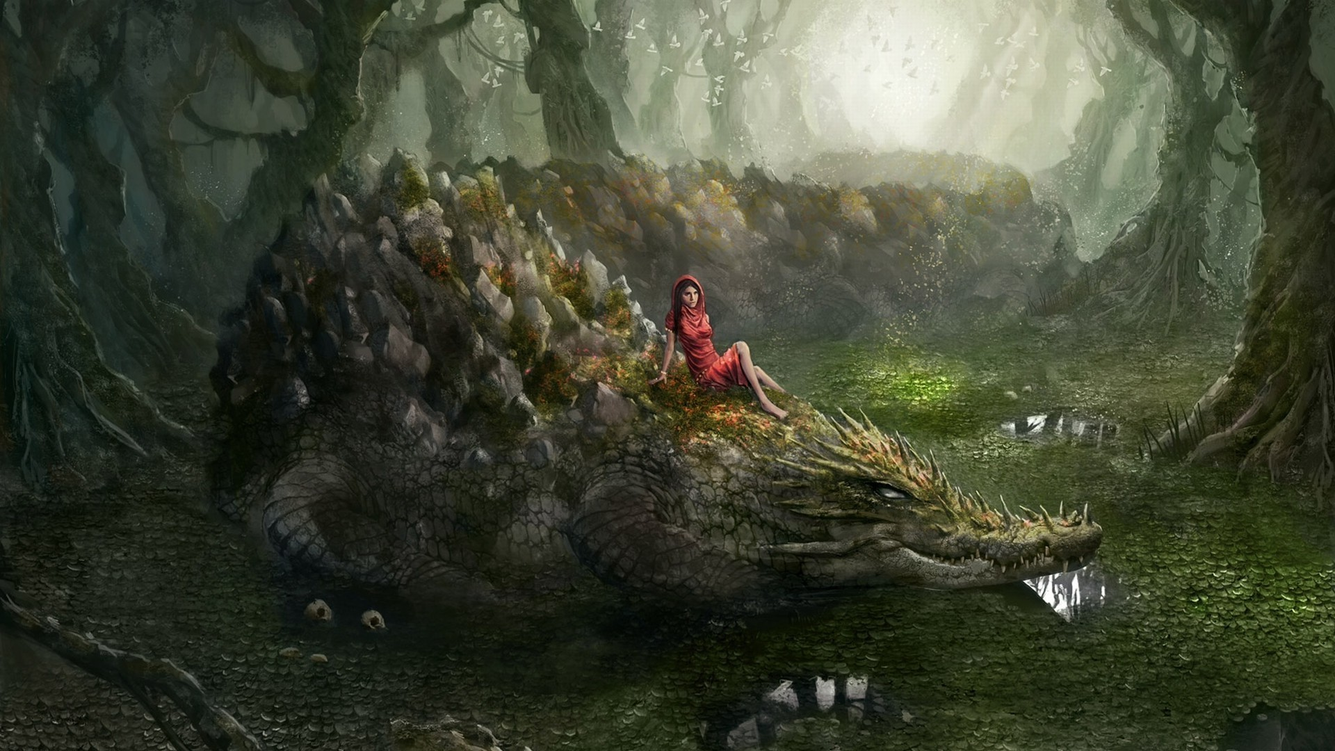 The girl on the crocodile. Android wallpapers for free