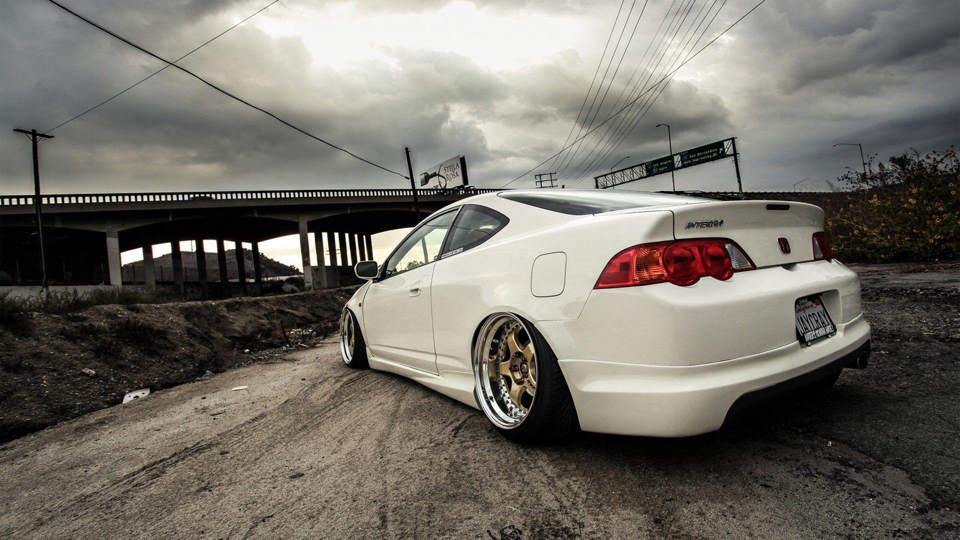 Wallpapers honda, acura rsx, car, auto, bridge, road