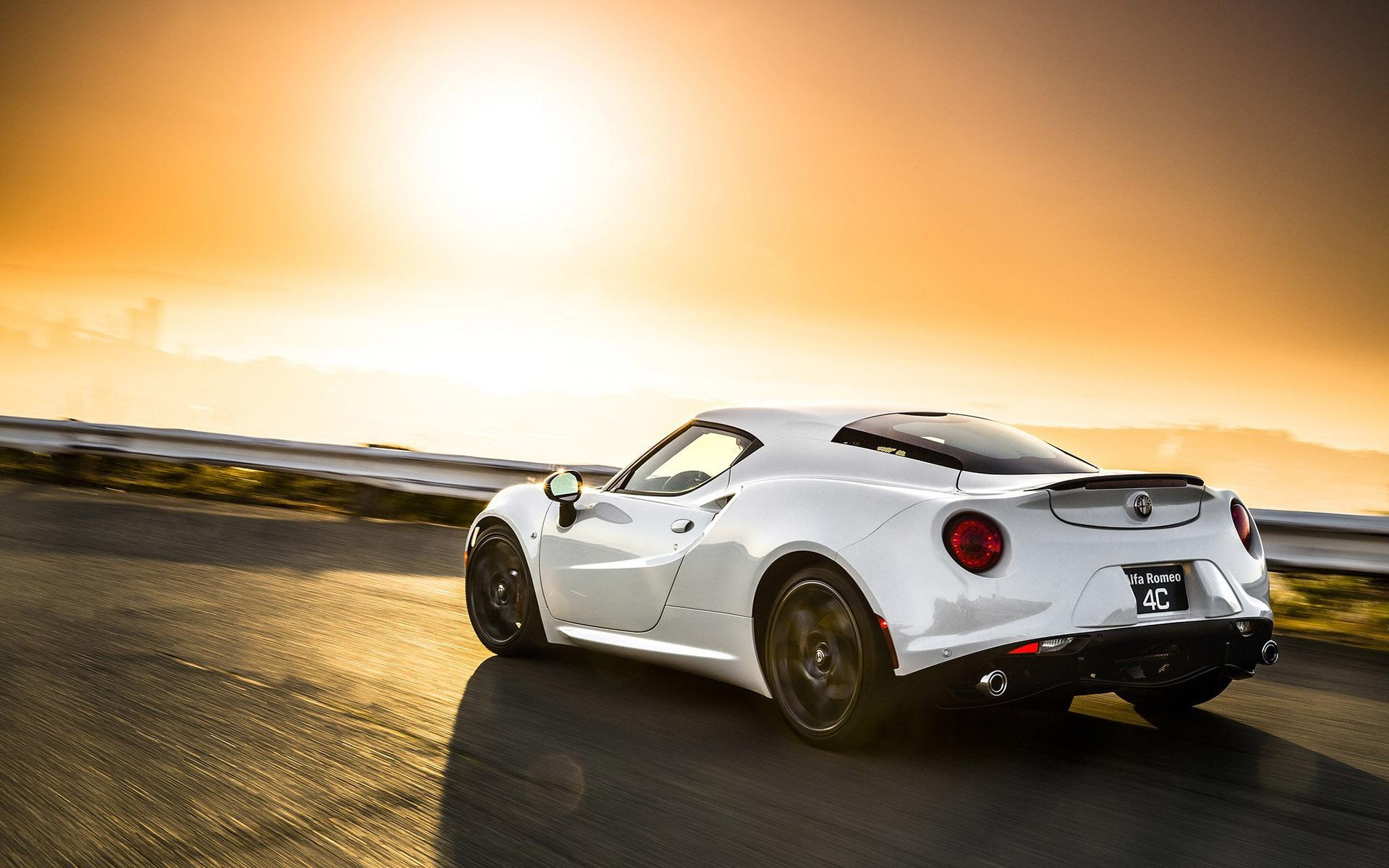 White Alfa Romeo 4C in the sunset HD desktop wallpapers