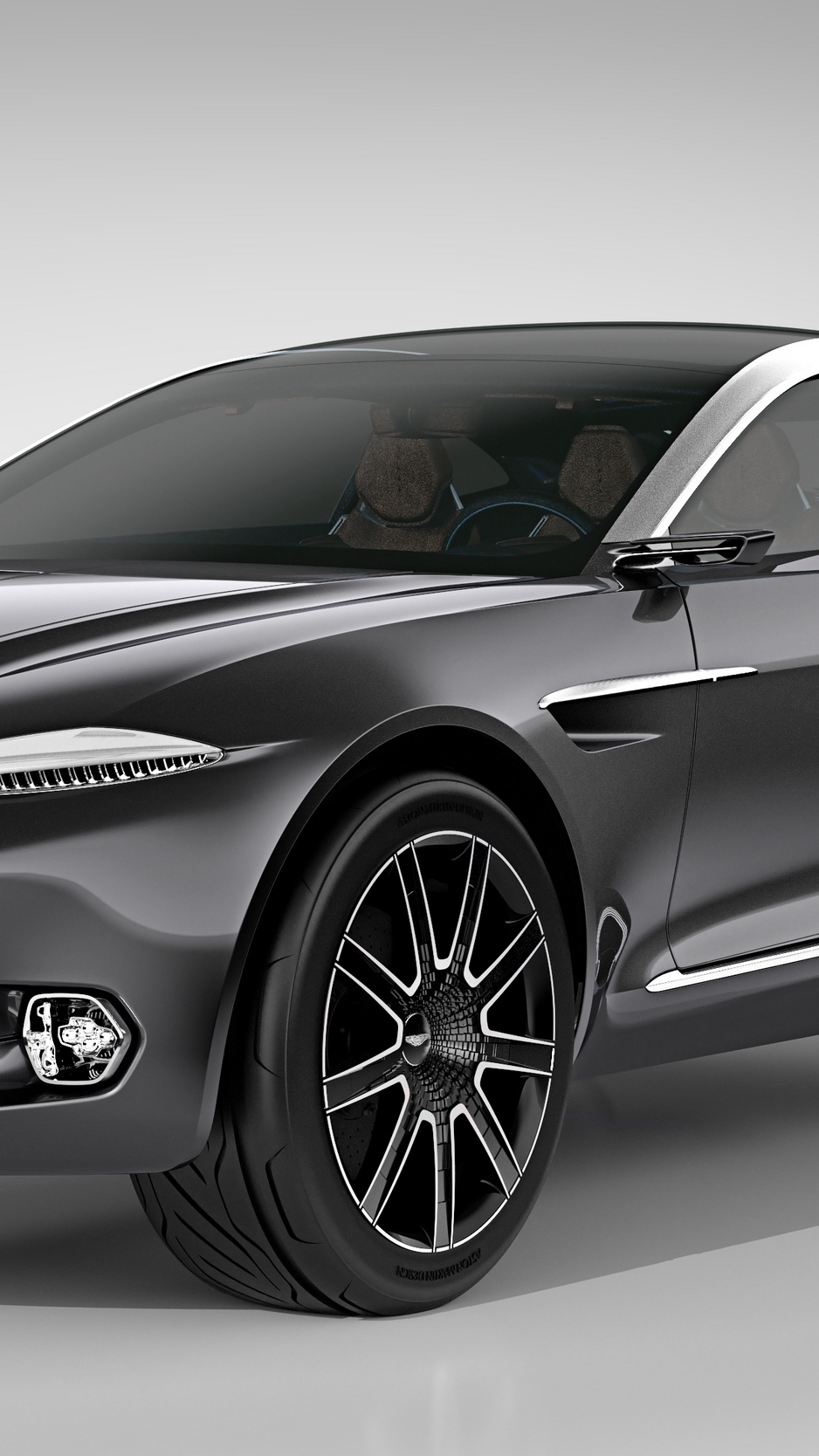 Download wallpapers 938x1668 aston martin, dbx, concept, black, side