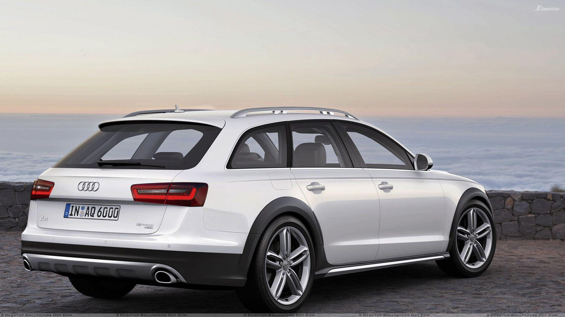 Back Side Pose Of 2013 Audi A6 Allroad In White Near Sea Side Wallpapers
