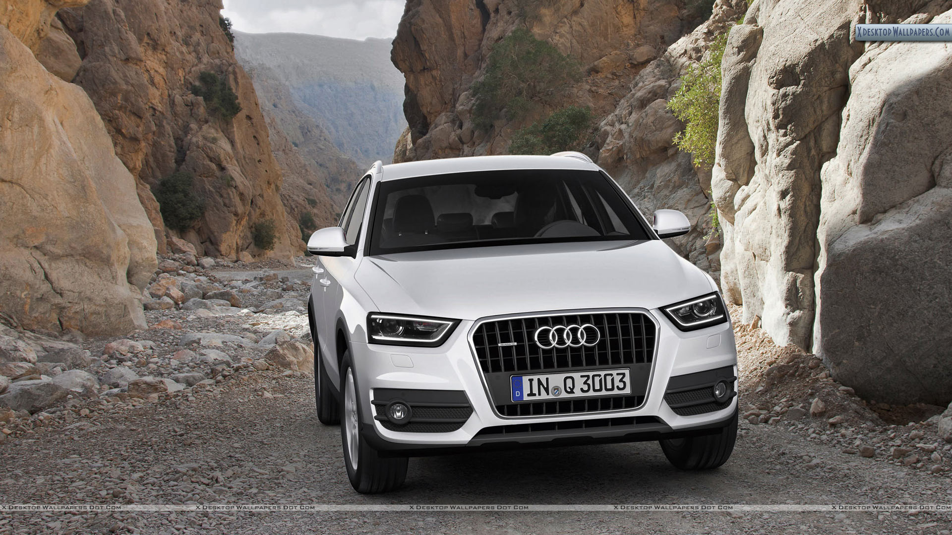Audi Q3 White Color In a Valley Wallpapers