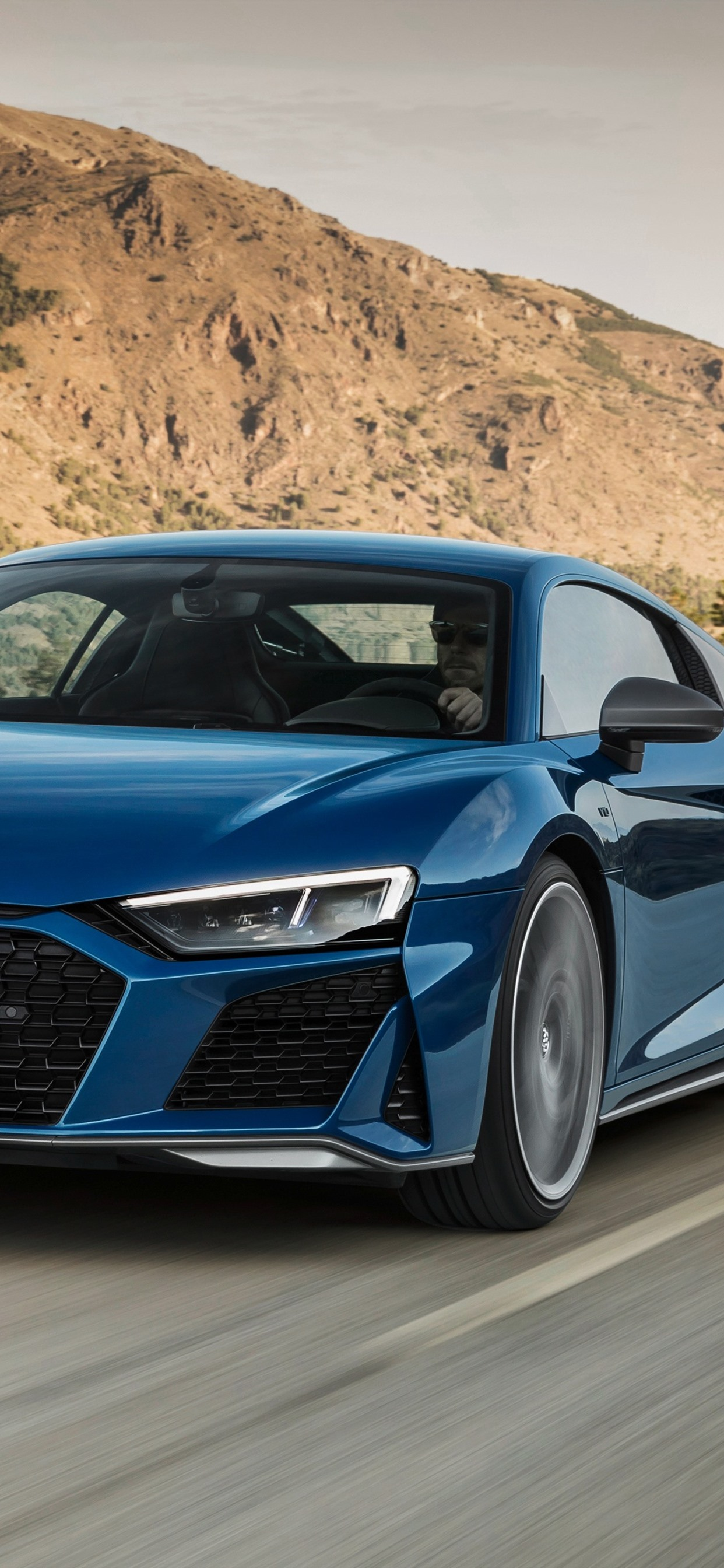 Audi R8 2019 blue car speed 1242x2688 iPhone XS Max wallpapers