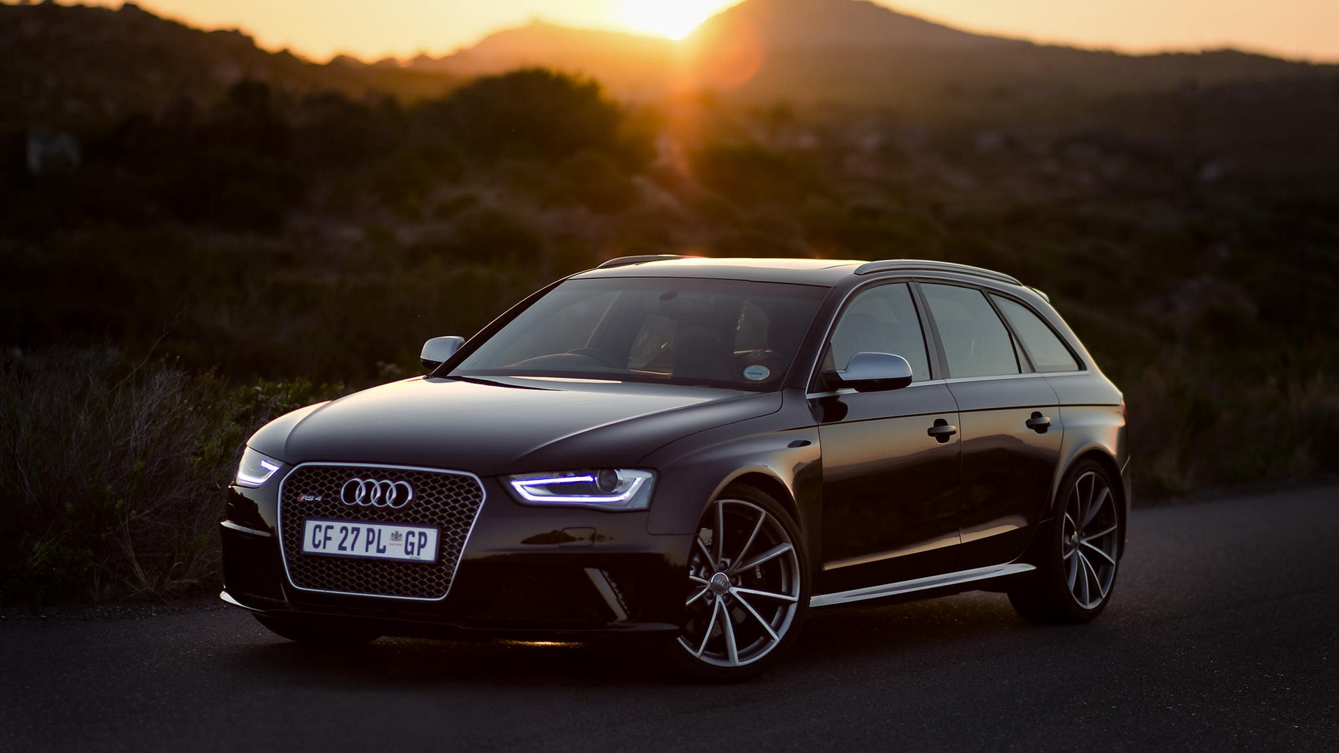 Download wallpapers 1920x1080 audi, rs4, side view, black, sunset