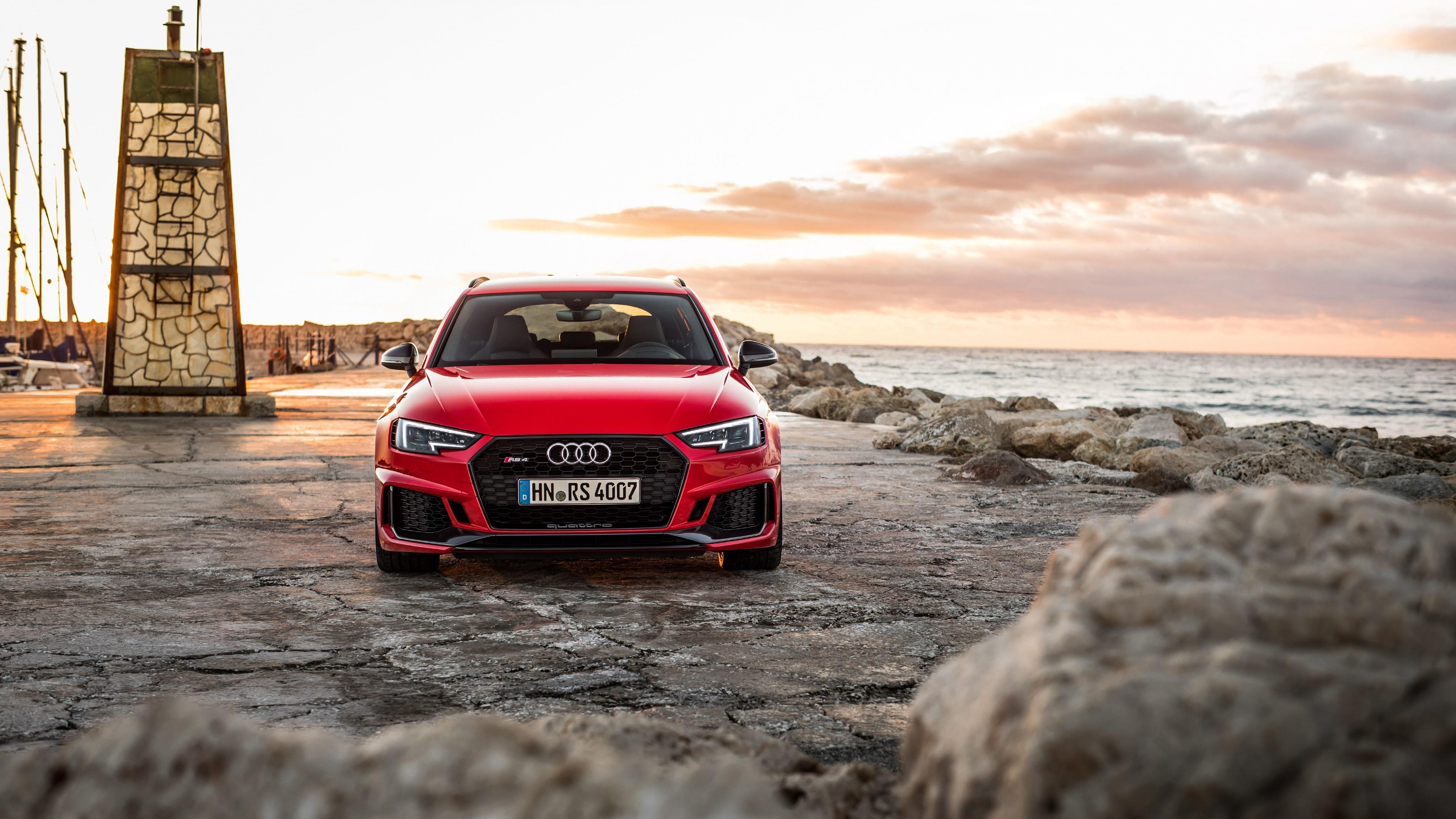 Wallpapers Audi Estate car 2018 RS4 Avant Red auto Front 4096x2304