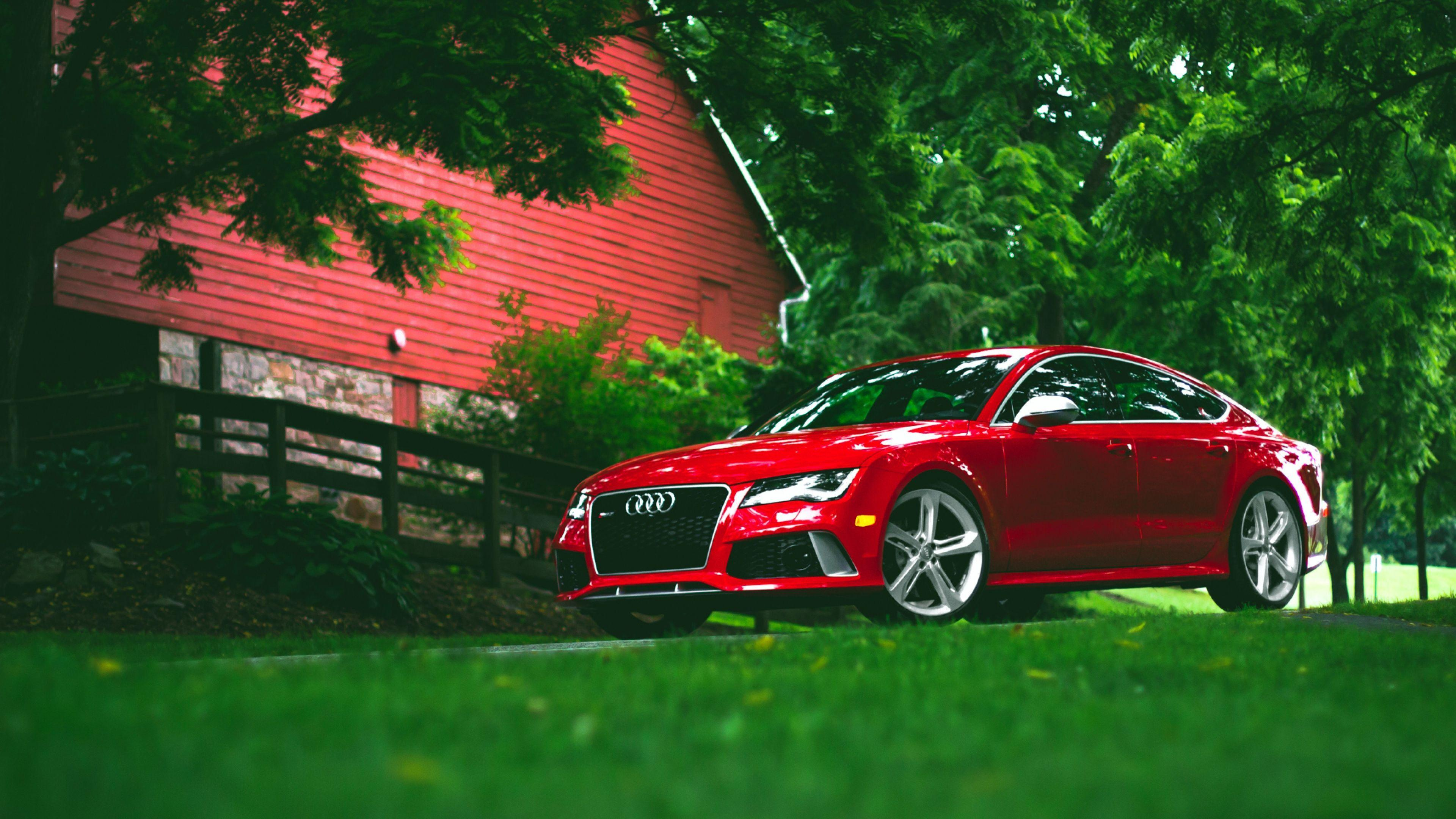 Download Wallpapers 3840x2160 Audi, Rs7, Red, Grass, Side view 4K