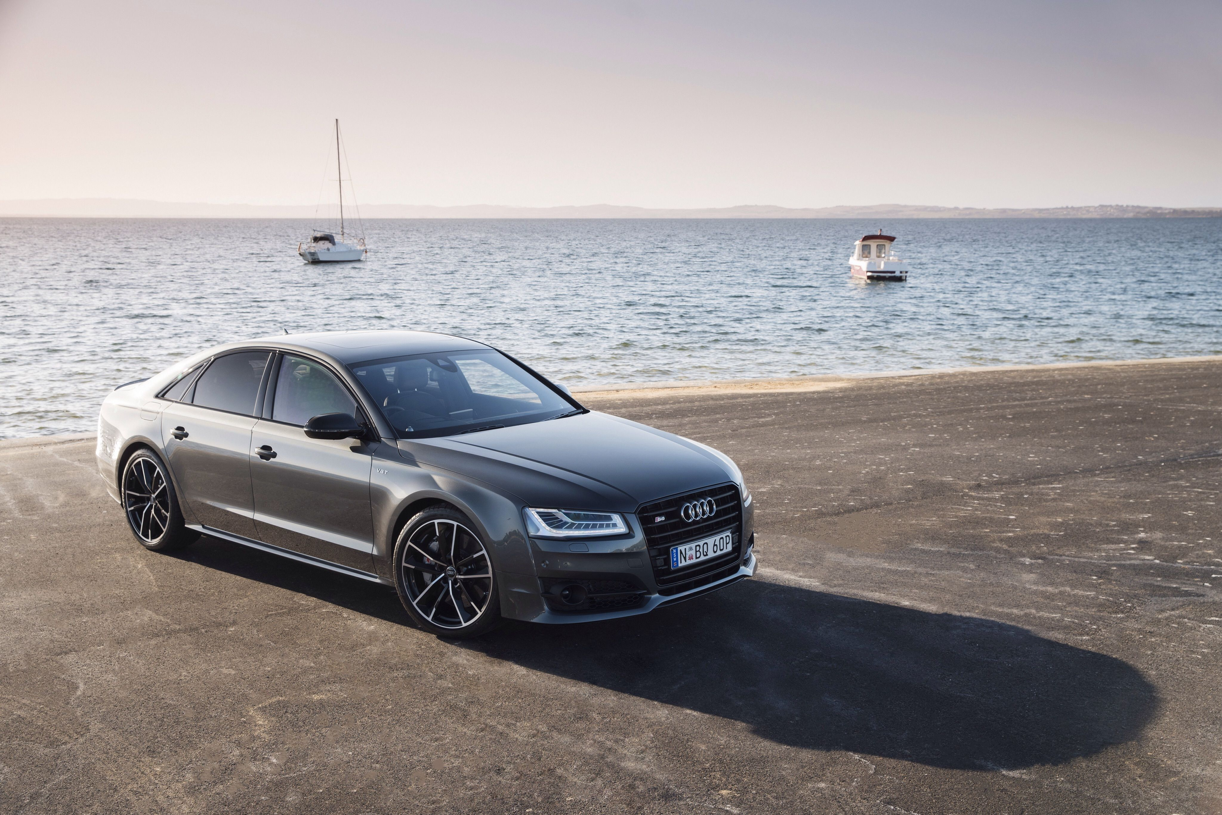 Wallpapers Audi, S8, Side view, Sea HD, Picture, Image