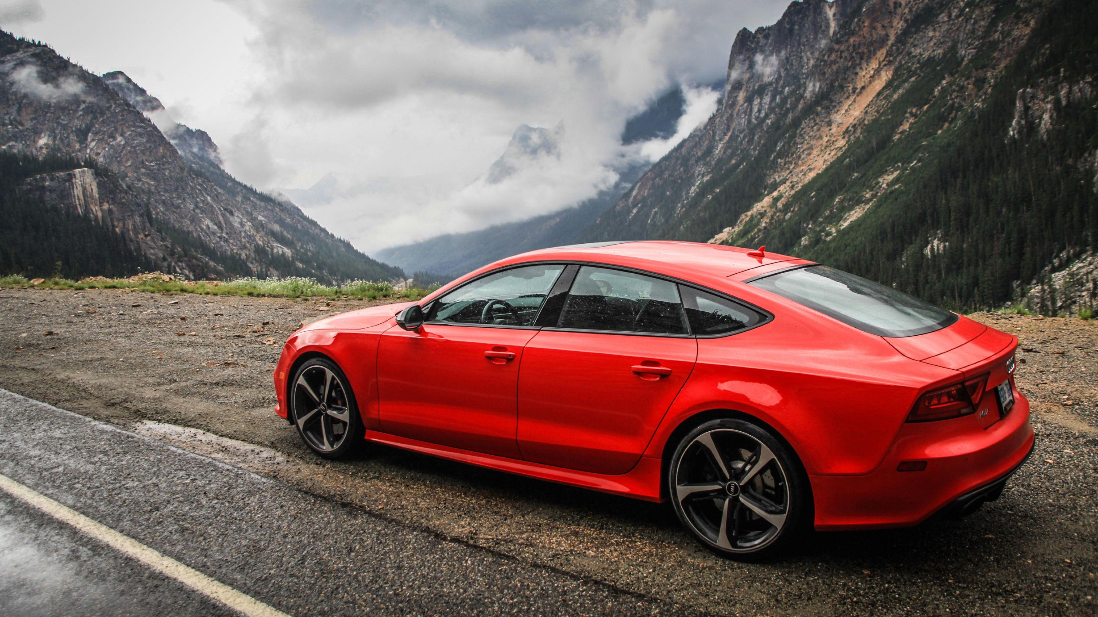Download Wallpapers 3840x2160 Audi, Rs7, Red, Side view, Mountain